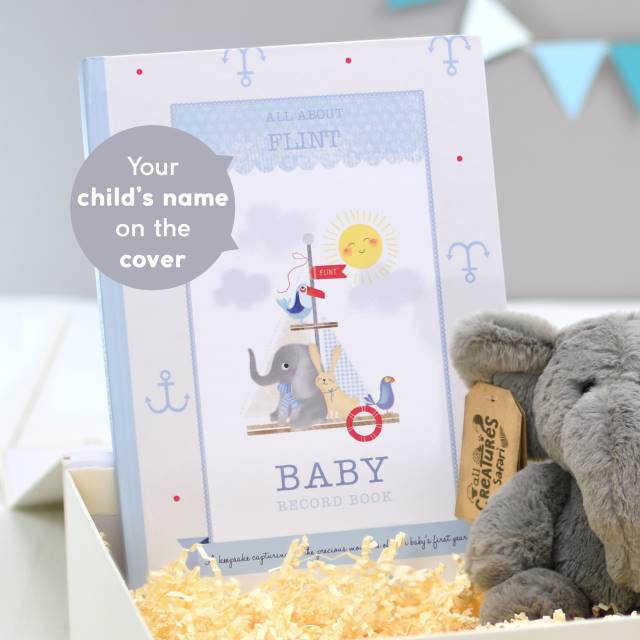 Baby Record Book and Elephant Plush Giftset - Boy