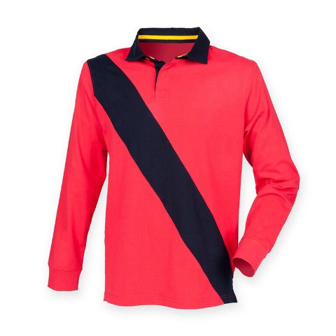 Front Row Diagonal Stripe Tagless House Rugby Shirt