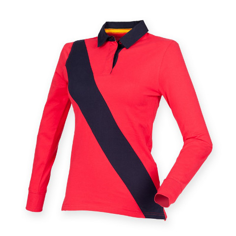 Front Row Ladies Diagonal Stripe Tagless House Rugby Shirt