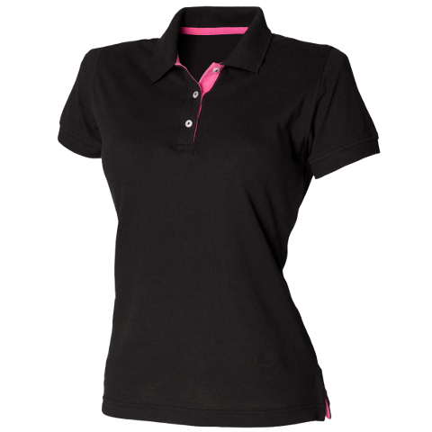 Henbury Ladies Contrast PolyCotton Pique Polo Shirt