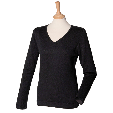 Henbury Women's 12 Gauge V-Neck Jumper
