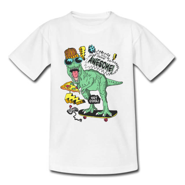 Kids Cool Dinosaur White Tshirt