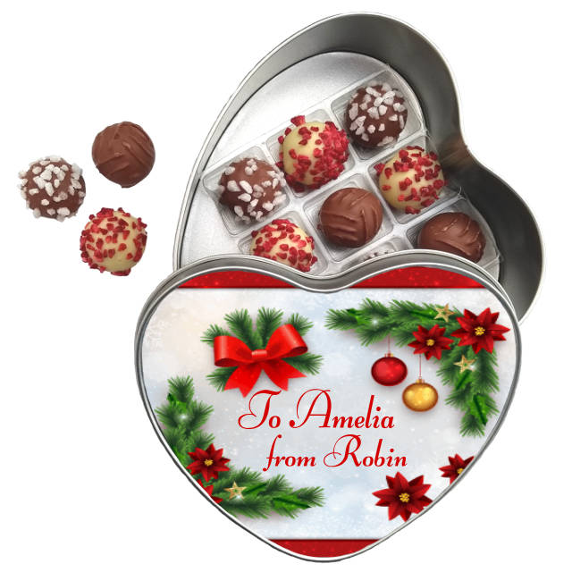 Lessiters Truffles and Heart Tin Christmas Ornaments