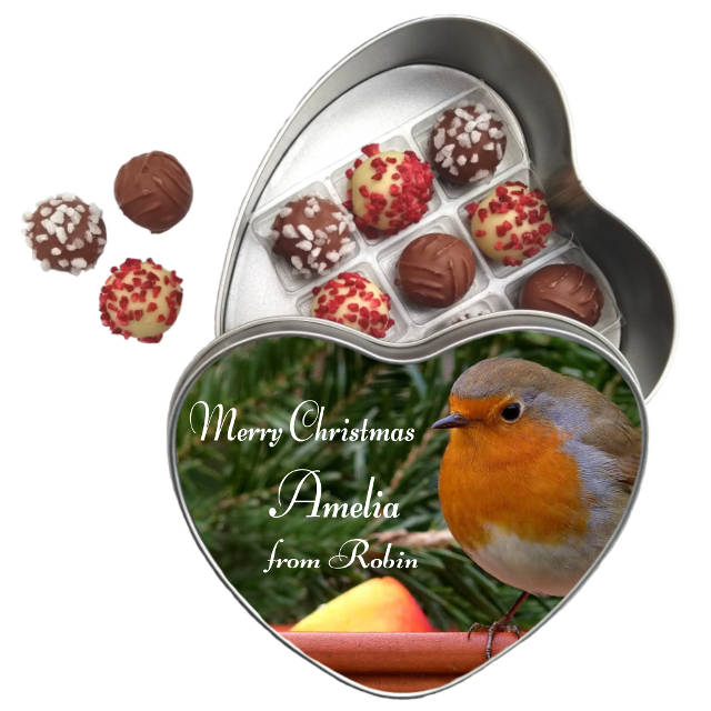 Lessiters Truffles and Heart Tin Christmas Robin