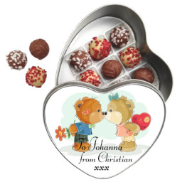 Lessiters Truffles and Heart Tin Valentines Teddies