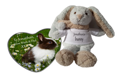 Personalised Bunny & Heart Shaped Tin