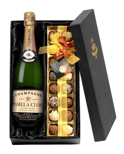 Personalised Champagne with Authentic Star occasions Label - Chocolates Giftpack