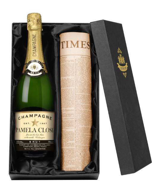 Personalised Champagne with Authentic Star occasions Label - Newspaper Giftpack
