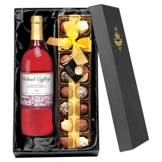 Personalised French AC Rosé Wine with Vineyard Label - Chocolates Giftpack