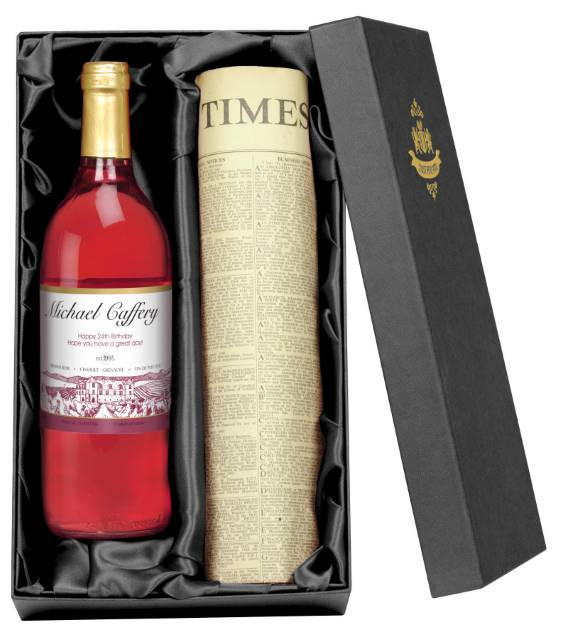 Personalised French AC Rosé Wine with Vineyard Label - Newspaper Giftpack