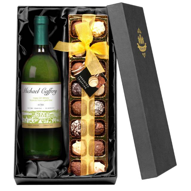 Personalised French AC White Wine with Vineyard Label - Chocolates Giftpack