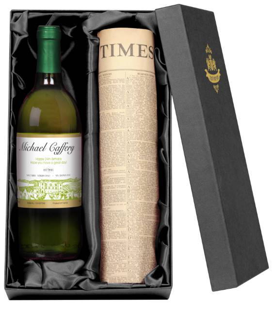 Personalised French AC White Wine with Vineyard Label - Newspaper Giftpack
