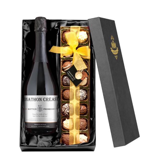 Personalised Prosecco with Contemporary Plain Label - Chocolates Giftpack