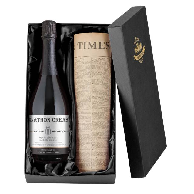 Personalised Prosecco with Contemporary Plain Label - Newspaper Giftpack