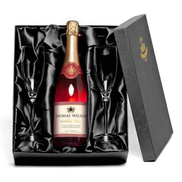 Personalised Sparkling Rosé Wine for Any Occasion with set of Glass Flutes