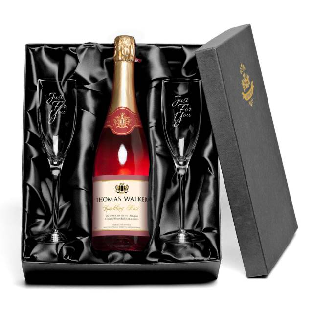 Personalised Sparkling Rosé Wine for Any Occasion with set of Just For You Glass Flutes