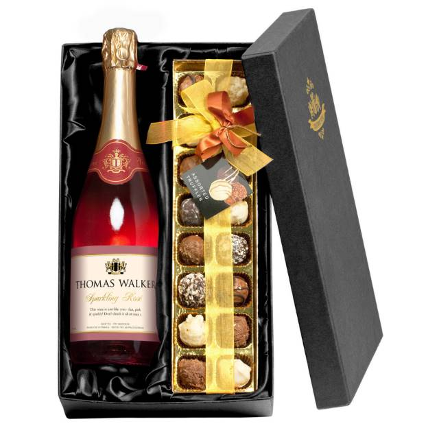 Personalised Sparkling Rosé Wine with Any Occasion Label - Chocolates Giftpack