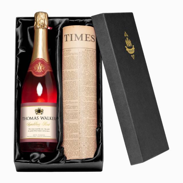 Personalised Sparkling Rosé Wine with Any Occasion Label - Newspaper Giftpack
