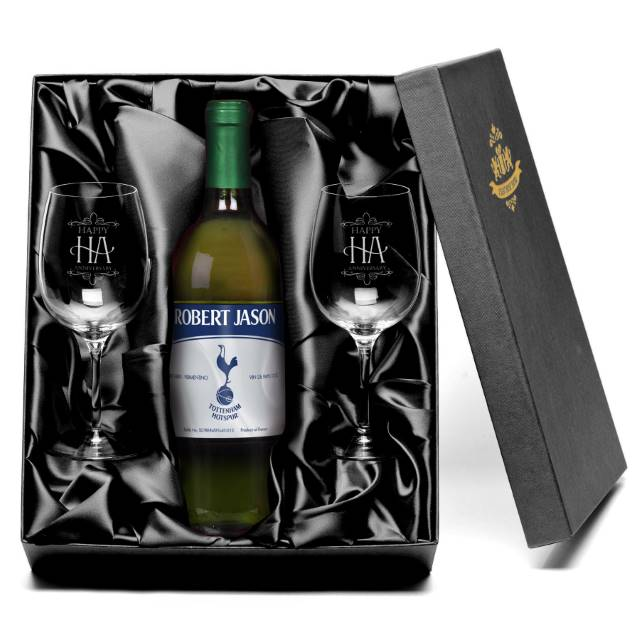 "Personalised Spurs ""Vintage"" French AC White Wine with set of Happy Anniversary Wine Glasses"