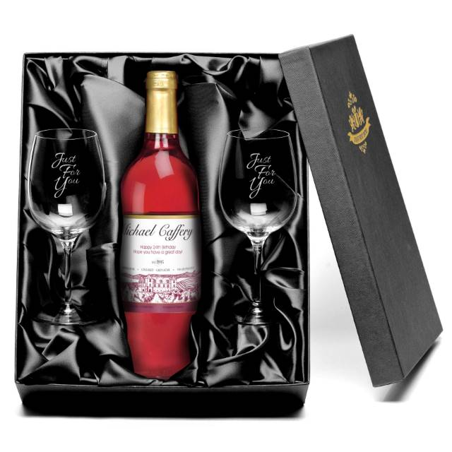 Personalised Vineyard French AC Rosé Wine with set of Just For You Wine Glasses