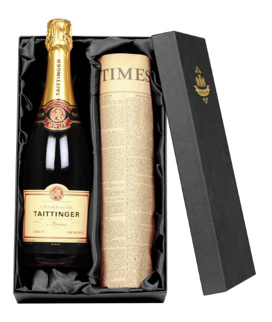 Taittinger Champagne and Newspaper in a silk lined Gift Box