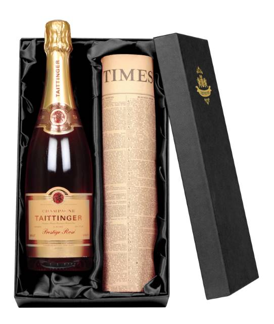 Taittinger Rosé Champagne and Newspaper in a silk lined Gift Box