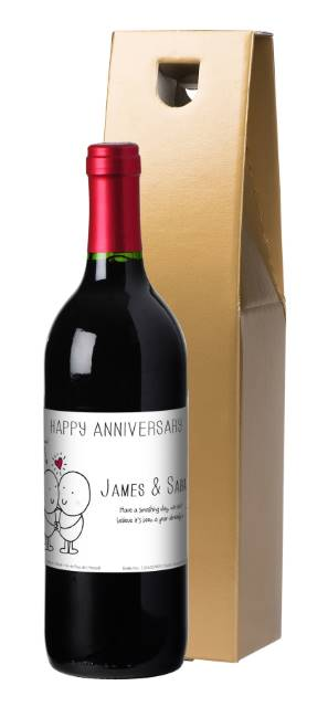 Chilli and Bubble's Anniversary French VdP Red Wine Label in a Gold Box