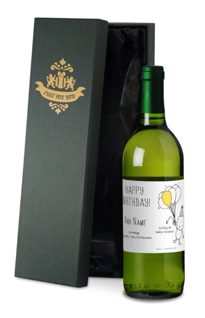 Chilli and Bubble's French AC White Wine with Birthday in Silk Box