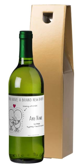 Chilli and Bubble's French AC White Wine with New Baby in Gold Box