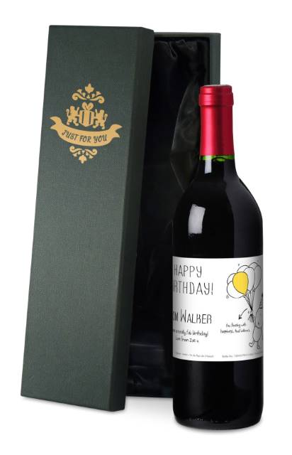 Chilli and Bubble's French VdP Red Wine Birthday Label in a Silk Box