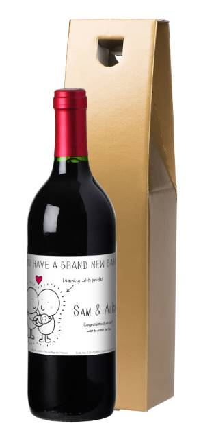 Chilli and Bubble's New Baby French VdP Red Wine Label in a Gold Box