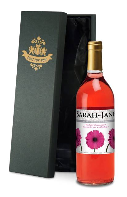 Personalised French AC Rose Wine Gerberas Mother's Day - in Silk Box