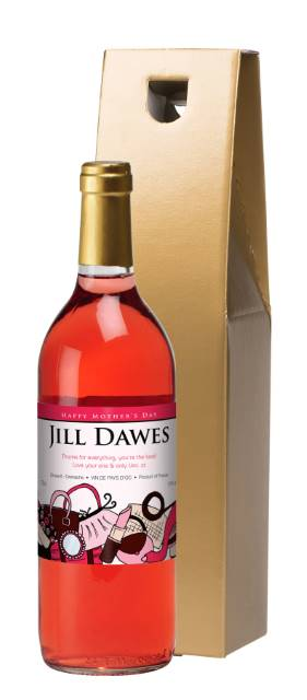 Personalised French AC Rose Wine Mother's Day Accessories - Gold Box