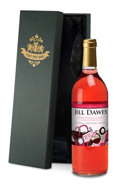 Personalised French AC Rose Wine Mother's Day Accessories - Silk Box