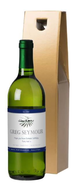 Personalised French AC White Wine with Blue Label in Gold Box