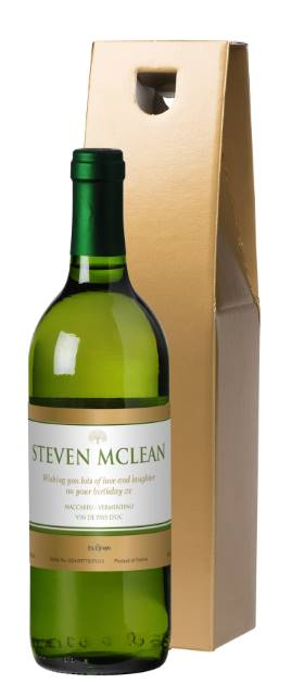 Personalised French AC White Wine with Gold Label in Silk Lined Box