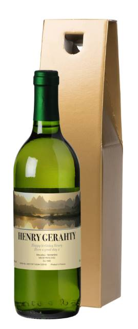 Personalised French AC White Wine with Sunset in Gold Box