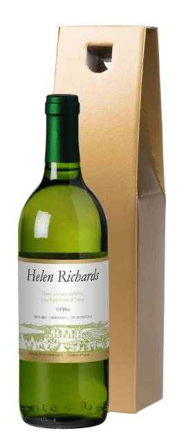 Personalised French AC White Wine with Vineyard in Gold Box