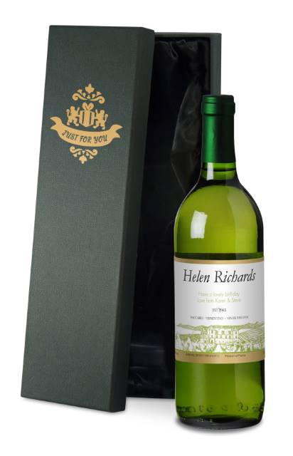 Personalised French AC White Wine with Vineyard in Silk Lined Box