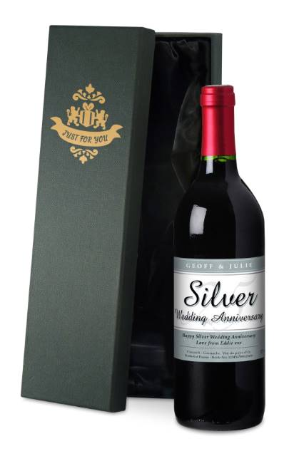 Personalised French VdP Red Wine 25th Anniversary Label in a Silk Box