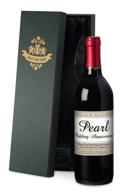 Personalised French VdP Red Wine 30th Anniversary Label in a Silk Box