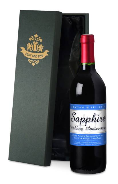 Personalised French VdP Red Wine 45th Anniversary Label in a Silk Box