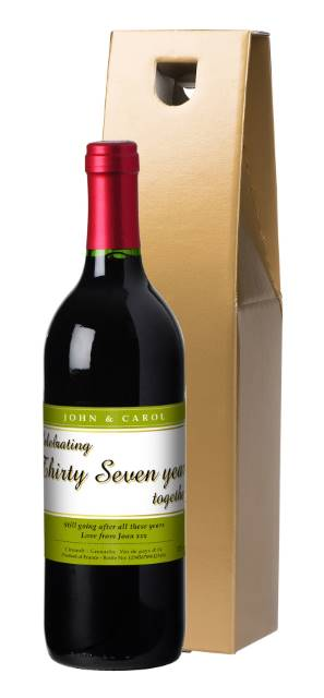 Personalised French VdP Red Wine ANY YEAR Anniversary Label in a Gold Box
