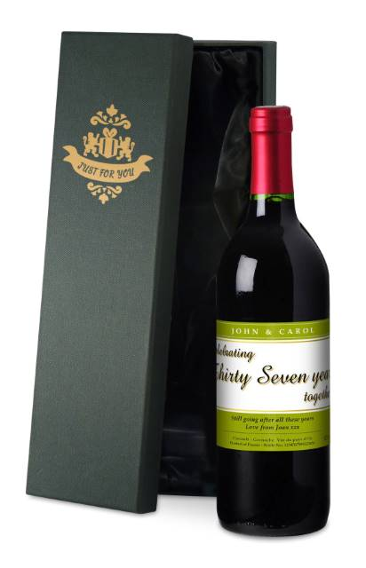 Personalised French VdP Red Wine ANY YEAR Anniversary Label in a Silk Box