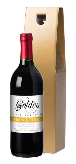 Personalised French VdP Red Wine Golden Anniversary Label in a Silk Box