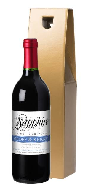 Personalised French VdP Red Wine Sapphire Anniversary Label in a Gold Box