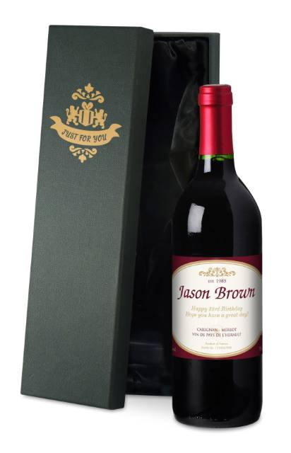 Personalised French VdP Red Wine Traditional Label in a Silk Lined Box