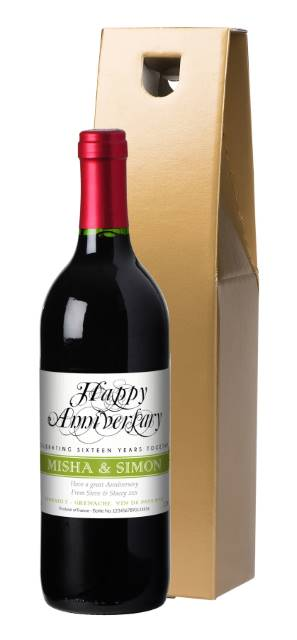 Personalised French VdP Red Wine Wedding Anniversary Label in a Gold Box