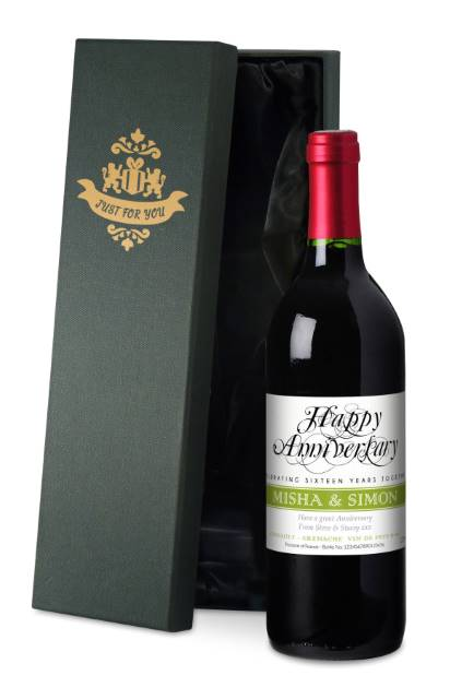 Personalised French VdP Red Wine Wedding Anniversary Label in a Silk Box