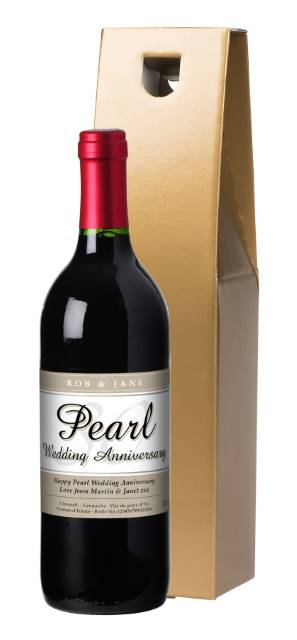 Personalised French VdP Red Wine with 30th Anniversary Label in a Gold Box